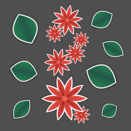 spring or summer floral wallpaper. paper flowers and leaves on grey background. plant elements for gift or present cards templates. Stock Illustratie
