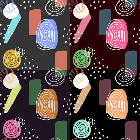 Abstract digitally hand drawn seamless pattern in simply beautiful scandinavian style. Set of 4 wallpapers. Colorful ornaments on dark background. Pattern for fabric and textile designs. Çizim