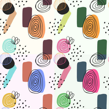 Abstract digitally hand drawn seamless pattern in simply beautiful scandinavian style. Set of 4 wallpapers. Colorful ornaments on light background. Pattern for fabric and textile designs.