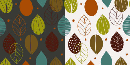 Two seamless autumn patterns with abstract leaves in primitive style on light and dark background. Fall inspired wallpapers in scandinavian style. Floral ornament.