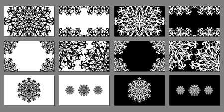Chic and beautiful vector set of monochrome business cards templates. White and black designs with mandala laces for gift card, certificate, flyers, banners and advertisements for creative people.