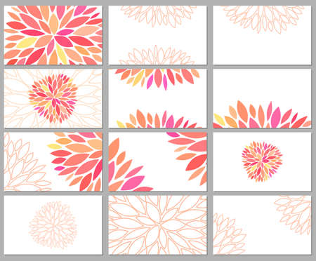 Gentle beautiful vector set of business cards templates with pink petals on white background. Designs for gift card, certificate, banners, flyers and advertisements for creative people. Stock Illustratie