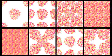 Set of seamless vector patterns with petals. Beautiful floral textures. Pink petals and flowers on white background. Fresh and bright seamless wallpaper designs.