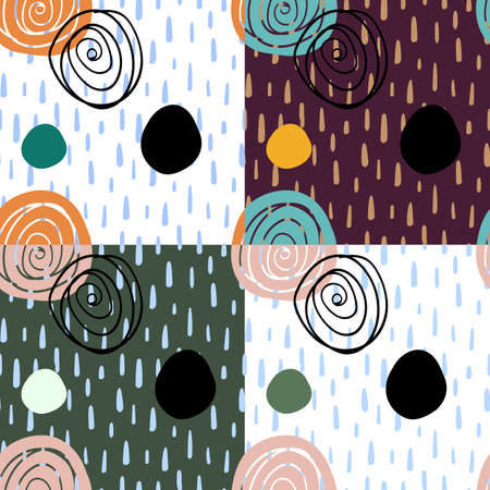 Abstract digitally hand drawn seamless pattern in simply beautiful scandinavian style. Set of 4 wallpapers with random shapes. Colorful ornaments. Pattern for fabric , textile and surface designs.