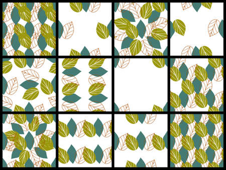 Set of seamless patterns with abstract green and blue leaves in primitive style on white background. Floral wallpapers in scandinavian style. Patterns for fabric, textile and surface designs.