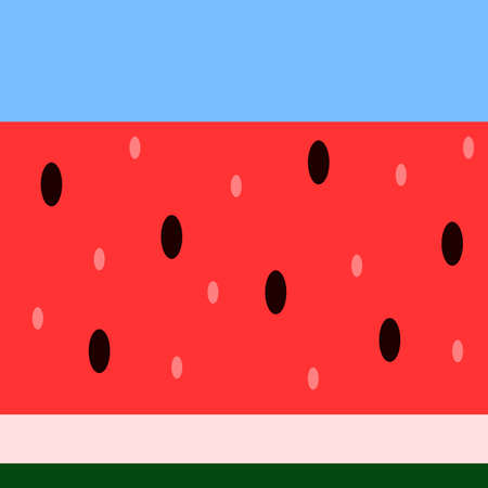 Vector seamless horizontal red, blue and green pattern. Fresh watermelon texture for fabric, textile and surface design. Simple and colorful illustration for the National Watermelon Day. Stock Illustratie