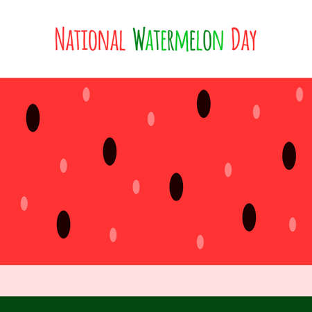 Vector red and green banner with fresh watermelon slice. Simple and colorful illustration for the National Watermelon Day.