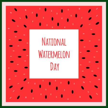 Vector red and green banner with fresh watermelon slice. Simple and colorful illustration for the National Watermelon Day. Fruit frame template.