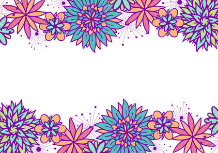Beautiful vector doodle floral frame with flowers in blue, pink, violet and orange colors on white background. Cute design with copy space for birthday card, certificate, banner, flyer, business card.