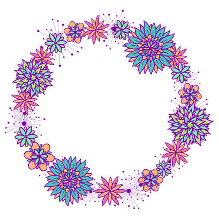 Beautiful vector doodle round floral frame with flowers in blue, pink, violet and orange colors on white background. Cute design with copy space for birthday card, banner, flyer, business card.