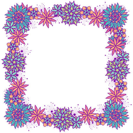 Beautiful vector doodle square floral frame with flowers in blue, pink, violet and orange colors on white background. Cute design with copy space for birthday card, banner, flyer, business card. Çizim