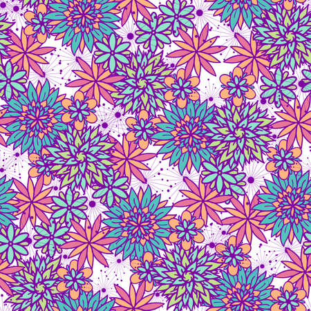 Vector abstract floral seamless pattern in pink, blue, violet and orange colors. Repeating design with cute doodle flowers for textile, fabric, surfaces. Beautiful wallpaper.