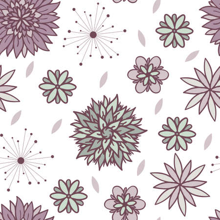 Vector abstract floral seamless pattern in blue and violet colors on white background. Repeating design with cute doodle flowers for textile, fabric, surfaces. Beautiful girly wallpaper.