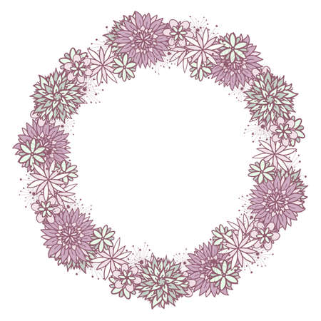 Beautiful vector doodle round floral girly frame with flowers in blue and violet on white background. Cute design with copy space for birthday card, banner, flyer, business card.