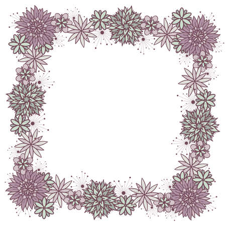 Beautiful vector doodle square floral girly frame with flowers in blue and violet colors on white background. Cute design with copy space for birthday card, banner, flyer, business card. Stock Illustratie