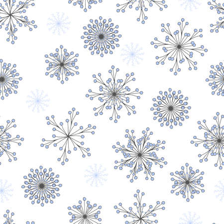 Beautiful vector seamless pattern with hand drawn snowflakes on white background. Charming Christmas design for fabric and surface. Abstract winter flowers. Snowflakes are covered under clipping mask. Stock Illustratie