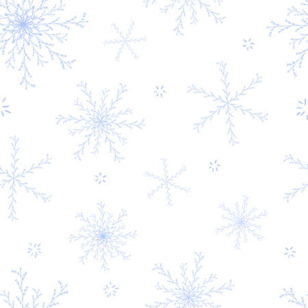 Beautiful seamless pattern with blue hand drawn snowflakes on white background. Charming Christmas design for fabric and surface. Abstract winter flowers. Snowflakes are covered under clipping mask.