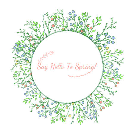 Beautiful hand drawn greenery illustration. Nature doodles. Vector banner with leaves and berries with round copy space on white background. Botanical flyer template with plants and flowers.