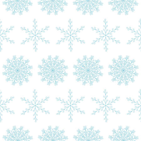 Amazing vector seamless pattern with blue hand drawn snowflakes on white background. Charming doodle illustration. Christmas design for fabric and surface. Beautiful abstract winter flowers.
