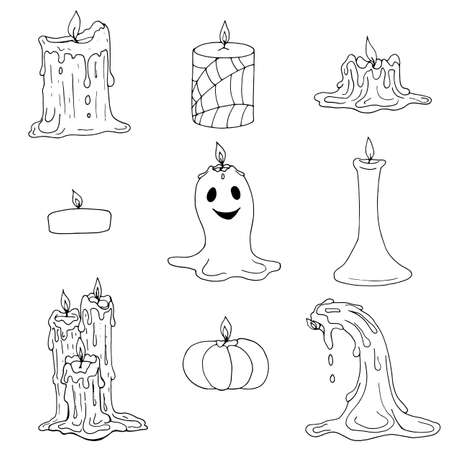 Vector set of creative hand drawn Halloween and melted wax candles. Black sketch elements isolated on white background.