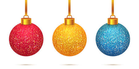 Vector set of 3 colorful sparkled and shining Christmas toys isolated on white background. Beautiful Xmas red, gold and blue crystal balls with frosted snow effect decorations.