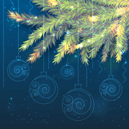 Beautiful vector banner. Realistic fir tree branches and shining transparent Christmas balls with swirls on dark blue background with bokeh and shining stars. Luxury New Year and Xmas postcard.