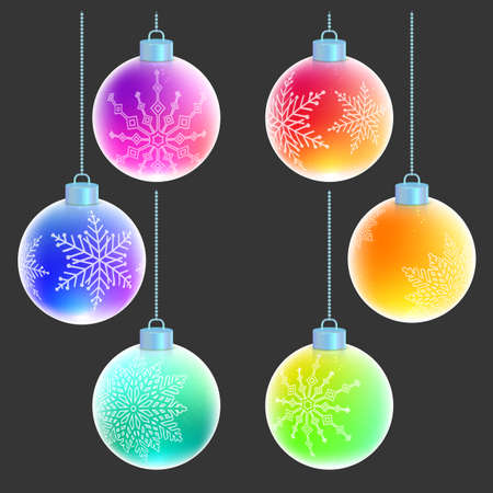Vector set of six colorful rainbow Christmas balls with white snowflakes decorations on them isolated on gray background. Beautiful Xmas toys.
