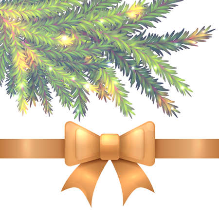 Vector illustration of realistic sparkled green and blue fir tree branch and golden silk ribbon with bow isolated on white background. Beautiful design for Christmas and New Year postcard.