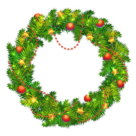 Beautiful vector Christmas wreath made of green fir tree branches with red balls and beads, golden foiled stars and shiny sparkles isolated on white background. Traditional Christmas garland design. Stock Illustratie