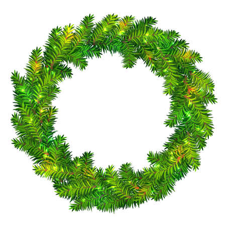 Beautiful vector Christmas wreath made of green fir tree branches with shiny sparkles isolated on white background. Traditional Xmas garland for holiday designs, banners, flyers, invitations, etc. Stock Illustratie
