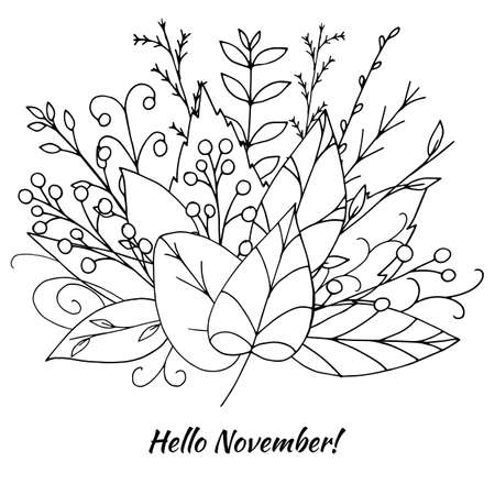 Vector fall bouquet made of black doodle leaves isolated on white background. Beautiful floral illustration with abstract plants and berries. Hand drawn seasonal greenery design. Botanical wreath.