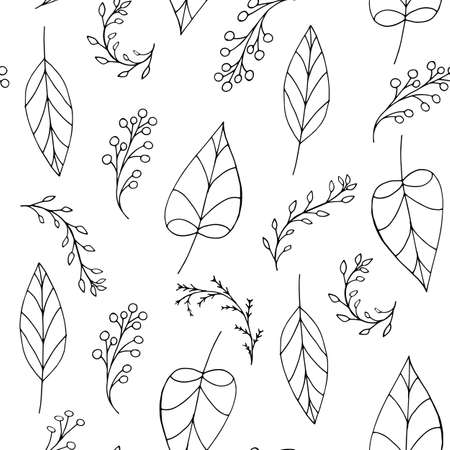 Black vector doodle seamless pattern with leaves & berries on white background. Repeating wallpaper. Hand drawn illustration with abstract spring plants. Texture design for surface, fabric, textile.