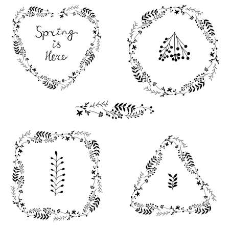 Beautiful vector set of black floral spring wreaths isolated on white background. Spring Is Here lettering. Botanical garland silhouettes in square, triangle, round and heart shapes. Flower frames.