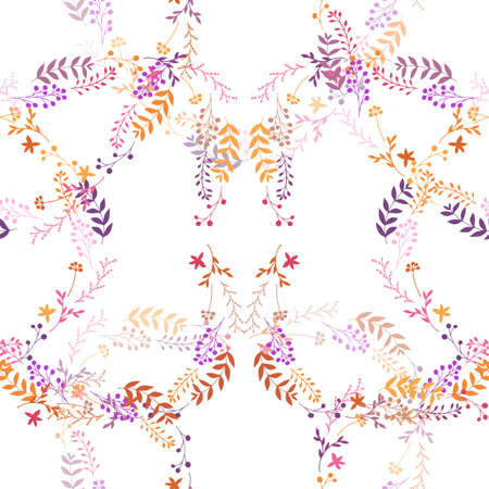 Vector seamless romantic pattern with abstract leaves, berries, flowers on white background. Repeating wallpaper. Hand drawn doodle illustration of spring plants. Texture design for surface, textile. Çizim