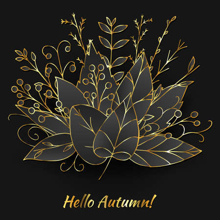 Vector autumn bouquet made of doodle golden leaves on black background. Beautiful fall illustration with shining abstract plants and berries. Hand drawn seasonal greenery design. Autumn wreath. Stock Illustratie