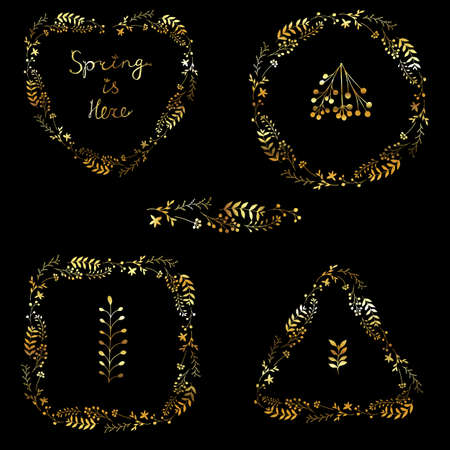 Beautiful vector set of gold floral spring wreaths isolated on black background. Royal luxury frames. Spring Is Here lettering. Flower garlands in square, triangle, round and heart shapes. Çizim