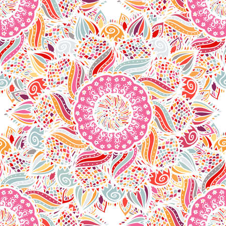Seamless floral vector pattern made of colorful mandalas. Pink romantic background. Texture design for surface, fabric, textile. Abstract repeating wallpaper with flowers.