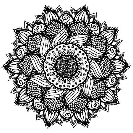 Beautiful abstract black mandala isolated on white background. Artistic floral ornament for coloring pages and book. Creative monochrome henna tattoo design. Abstract sunflower.