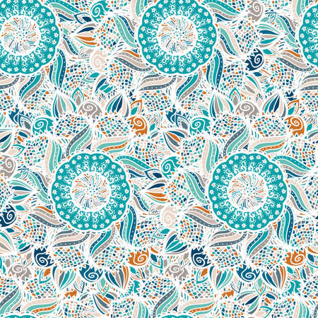 Abstract seamless floral vector pattern made of colorful mandalas. Blue ethnic background. Texture design for surface, fabric, textile. Repeating wallpaper with flowers.