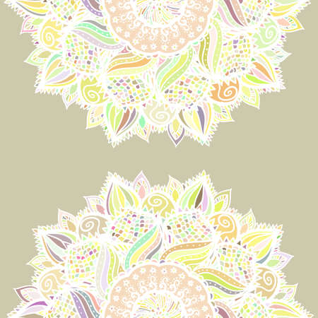 Abstract seamless floral vector pattern made of colorful mandalas. Romantic background. Texture design for surface, fabric, textile. Repeating wallpaper with flowers.