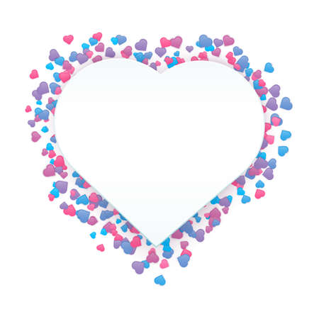 Happy Valentine Day banner. Vector beautiful and romantic wreath made of little colorful heart shapes in pink, blue and violet colors isolated on white background with copy space.