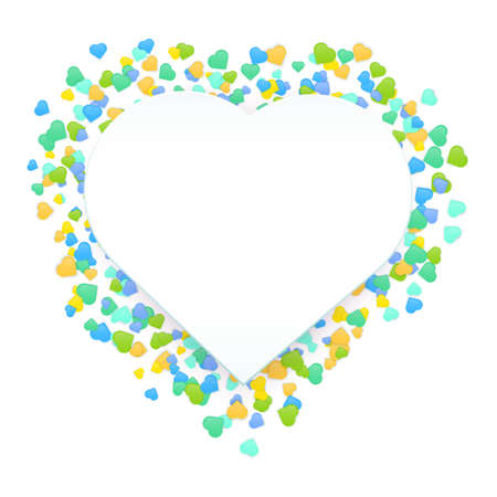 Happy Valentine Day banner. Vector beautiful and romantic wreath made of little colorful heart shapes in yellow, blue and green colors isolated on white background with copy space. Stock Illustratie