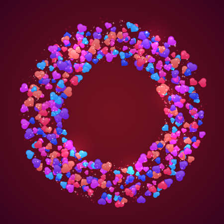 Happy Valentine Day banner. Vector beautiful and romantic wreath made of little colorful heart shapes in blue, pink, violet and purple colors on dark red background with sparkles and copy space.