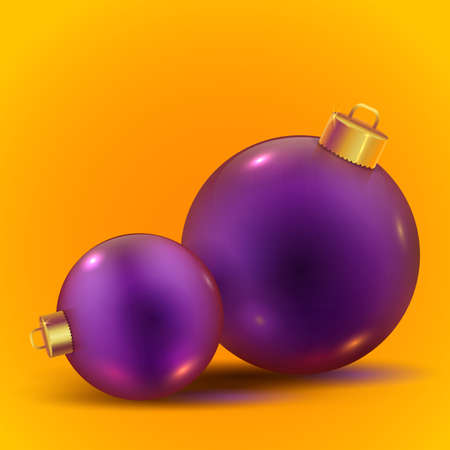 Violet realistic vector shiny Christmas balls with shadows on trendy yellow background. New year toys. Beautiful winter ornaments. Stock Illustratie