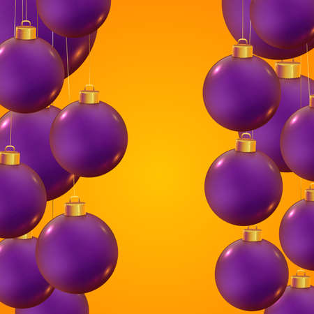 Violet realistic vector Christmas balls on trendy yellow background. Banner for winter holidays and parties. New year flyer design. Christmas template. Beautiful winter ornaments.