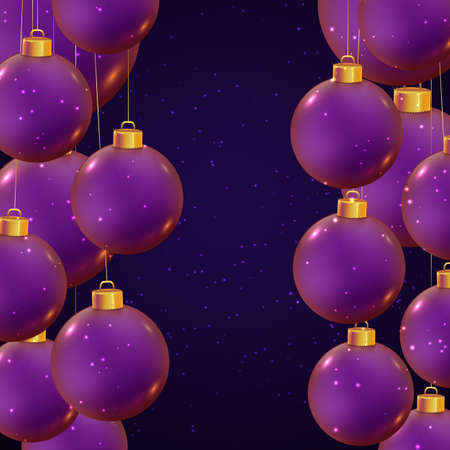 Realistic vector Christmas balls in violet color on dark blue background with sparkles. Shiny banner for winter holidays and parties. New year flyer design. Beautiful Christmas toys.