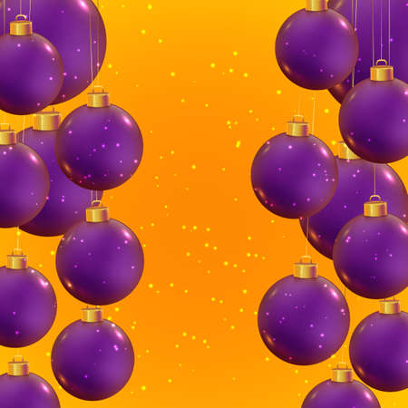 Violet realistic vector shiny Christmas balls on trendy yellow background. Banner for winter holidays and parties. New year flyer design. Christmas template. Beautiful winter ornaments.