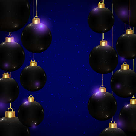 Realistic vector Christmas balls in black color on dark blue background with sparkles and bokeh. Shiny banner for winter holidays and parties. New year flyer design. Beautiful Christmas toys.
