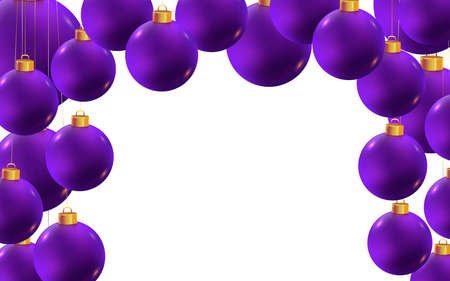 Violet realistic vector Christmas balls isolated on white background with copy space. Horizontal banner template for winter holidays and parties. New year flyer. Chic and luxury greeting card design.