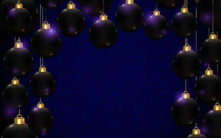 Black realistic vector Christmas balls on dark blue background with copy space. Horizontal banner template for winter holidays and parties. New year flyer. Chic and luxury greeting card design.